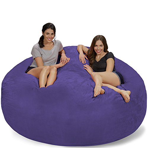 Chill Sack Bean Bag Chair: Giant 7' Memory Foam Furniture Bean Bag - Big Sofa with Soft Micro Fiber Cover - Purple Micro Suede