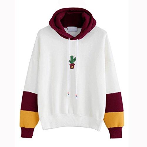 Eg Mijn Dames Cactus Print Hoodie Sweater Hooded Pullover Tops Blouse Wijn