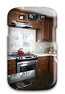 lintao diy Series Skin Case Cover For Galaxy S3(light Blue Kitchen With Brown Cabinetry)