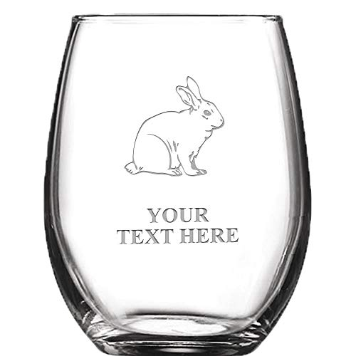 - Bunny Rabbit Personalized Wine Glass - 9 oz Custom Soiree Stemless Custom Engraved Wine Glass Gift Prime