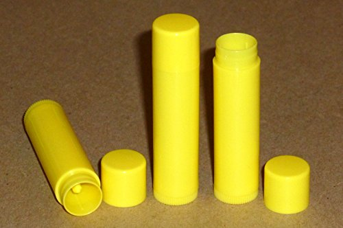 10 NEW Empty BRIGHT YELLOW Lip Balm Chapstick Tubes Containers .15 oz / 5 ml Tube Make Your Own Chapstick Lip Balm DIY At Home with Caps (Ounce Stick 0.15)