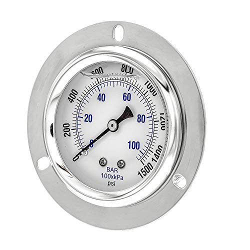 PIC Gauge PRO-204L-254N Glycerin Filled Industrial Front Flanged Panel Mount Pressure Gauge with Stainless Steel Case, Brass Internals, Plastic Lens, 2-1/2