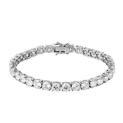 MASTER OF BLING Solitaire Tennis Bracelet Lab Diamonds Round Cut 6mm White Gold Finish Men Classy