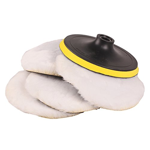 SPTA 7inch POLISHER/BUFFER SOFT WOOL BONNET & PAD with HOOK & LOOP for POLISHING/BUFFING -5/8