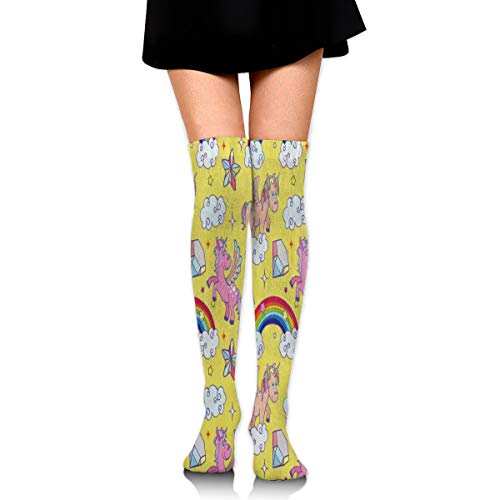 - Women Stockings Over Knee Yellow Unicorn Animal Cloud Rainbow Custom Personalized Decor