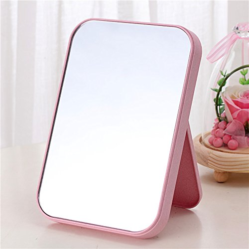 Beauty Mirror Makeup Mirror Magnification Vanity Cosmetic Mirrors Shaving Mirror Hd Single-Sided Make-Up Mirror Desktop Beauty Princess Mirror Folding Mirror Simple Fashion 15×22Cm,Frosted Pink good
