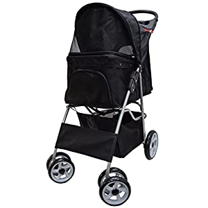 VIVO Four Wheel Pet Stroller, for Cat, Dog and More, Foldable Carrier Strolling Cart, Multiple Colors