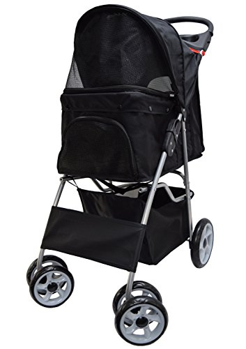 VIVO Black 4 Wheel Pet Stroller for Cat, Dog and More, Foldable Carrier Strolling Cart (STROLR-V001K) (Best Large Dog Stroller)