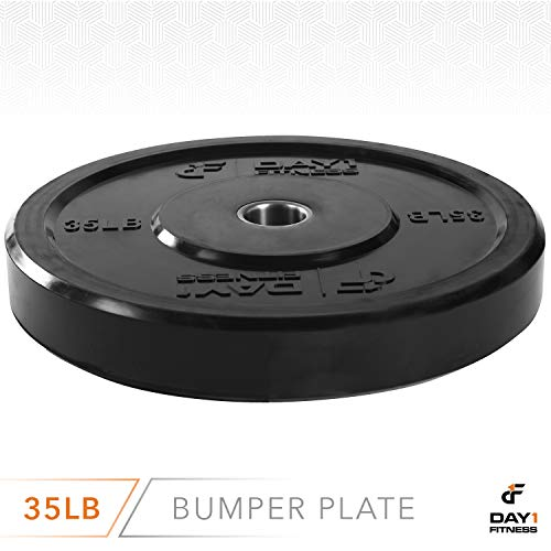 """Day 1 Fitness Olympic Bumper Weighted Plate 2"""" for Barbells, Bars – 35 lb Single Plate - Shock-Absorbing, Minimal Bounce Steel Weights with Bumpers for Lifting, Strength Training, and Working Out by Day 1 Fitness (Image #2)"""