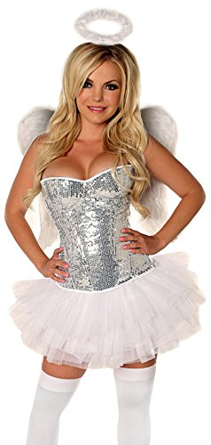 Daisy Corsets Women's Elite 4 Piece Sequin Angel Costume, Silver, (Plus Size Dark Angel Costumes)