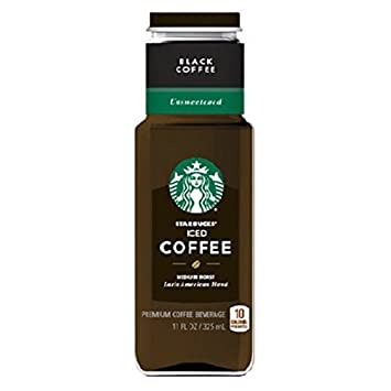 Starbucks Black Iced Coffee UnSweetened 11 Oz Glass Bottles