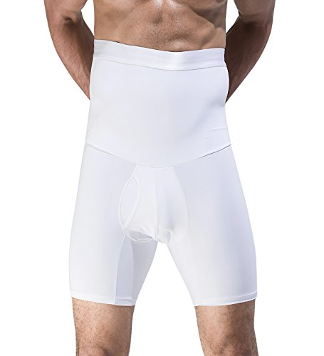 Hip Leg Brief (Penagy Men High Waist Stomach Shaper Butt Lifter Leg Control Hip Buster Boxer Brief Large White)