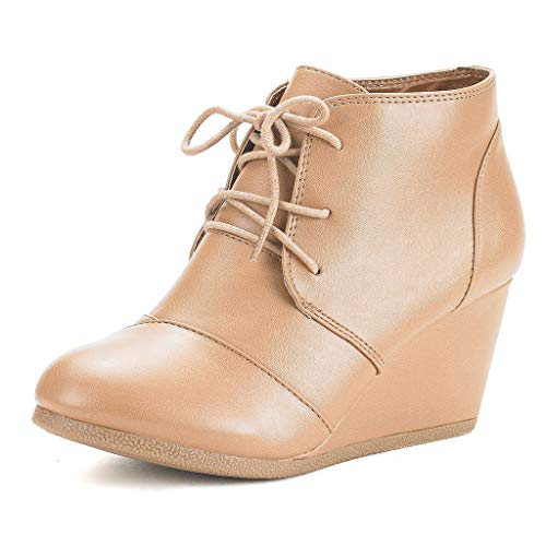 DREAM PAIRS TOMSON Women's Casual Fashion Outdoor Lace Up Low Wedge Heel Booties Shoes   NUDE PU 5.5 B(M) US