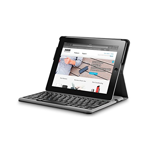 Anker Folio Bluetooth Keyboard Tastatur Case Hülle für iPad 4 / 3 / 2, Smart Case mit Auto Sleep / Wake Funktion, Komfortable Tasten, Extra Lange Batterielaufzeit