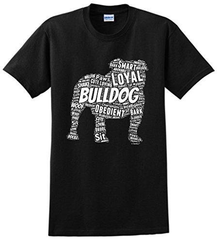 ThisWear Dog Accessories English Bulldog Word Art Dog Puppy Owner Gift T-Shirt 2XL Black