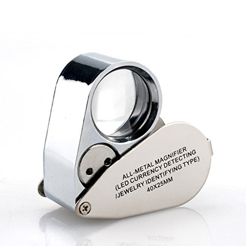 Portable Handheld Magnifier High-Definition Metal Materials Magnifying 40X Light Loupe Suitable for Diamond Jewellery Appraisal