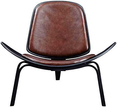 NyeKoncept Aged Cognac Shell Chair, Black