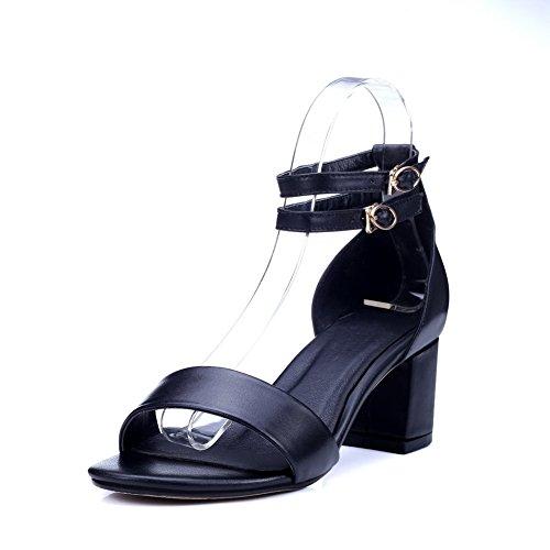 AmoonyFashion Women's Zipper Open Toe Kitten-Heels Solid Sandals, Black, -