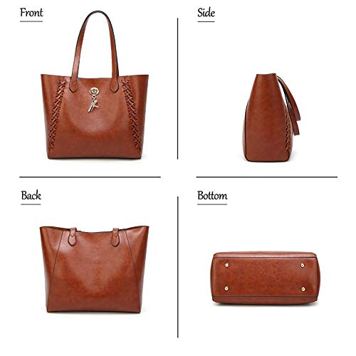 Tote Fashion Shoulder Style WENIG handle Handbag Black Purse Bags Bag New Lady Top 2pcs FTawwqB8