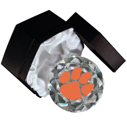 NCAA Clemson Tigers logo on a 4-Inch High Brillance Diamond Cut Crystal (Optical Crystal Paperweight)
