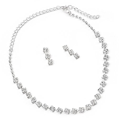 Bridesmaid Jewelry Set (Silver Crystal 3 Stone Rhombus Shaped Necklace Earrings Jewelry Set)
