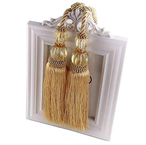 Backs Cord Tie (BTMB 1 Pair Crystal Beaded Tassels Curtain Holdback Curtain Tiebacks Rope Cord for Home Decor (Gold))