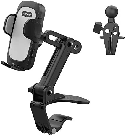 Car Phone Holder Mount (3 in 1) Dashboard Vent Rear View Mirror [Multi-Angle Adjustment Arm] Cell Phone Holder for Car Clip Mount Stand Compatible with All Mobile Phones