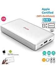 1000GB (1TB) Disco Duro Externo para iPhone 5/6/7/8 / X, XR/XS MAX, iPad Pro y MacBook y PC, Memoria USB 3.0 Disco Duro iPhone Fotos Apoyo