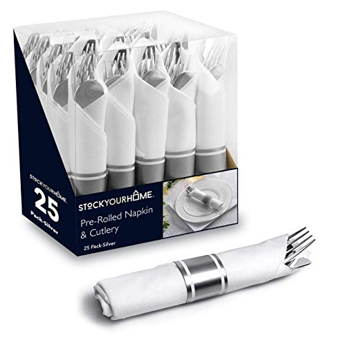 Silver Pre Rolled Napkin and Cutlery Set 25 Pack Disposable Silverware for Catering Events, Parties, and -