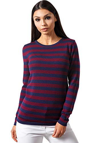 Sweater Burgundy Pullover - KNITTONS Women's Merino Wool Classic Lightweight Crew Neck Sweater Pullover (Navy-Burgundy, Small/US 4-6)