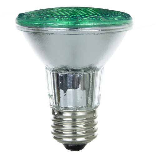 Bulb Green Floodlight (Sunlite 50PAR20/HAL/FL/G 50-Watt Halogen PAR20 Reflector Bulb, Green)