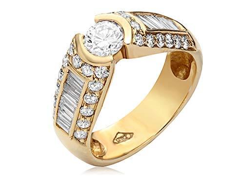 1.45 Carat Round Shape F/ VS2/SI1 Diamond Halo Anniversary Ring 14k Yallow - Round Diamond 1.45 Ct