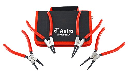 "Astro Tools 94220 Astro Pneumatic Tool 7"" Internal/External Cr-V Snap Ring Pliers, , 4 Piece, 0.050"""