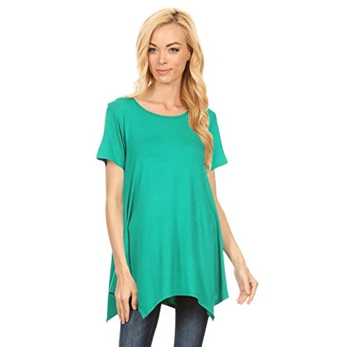 ed1a9940eb9 Flowy Short Sleeve Tunics for Women Handkerchief Hem Swing Scoop Neck Tunic  Tops - USA hot