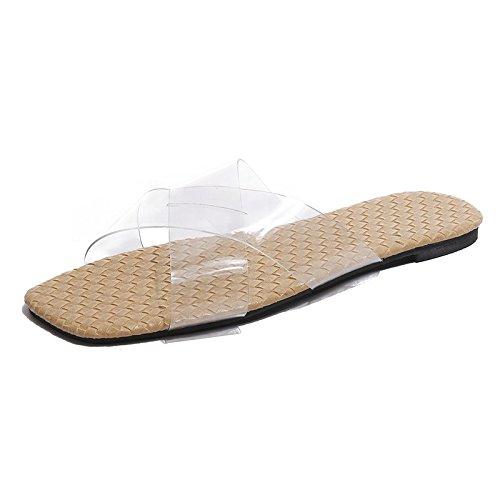 0bf6d7bf6d5 Buena Zapatilla de verano femenino desgaste nueva versión coreana de la  salvaje transparente plano flip-flops ...