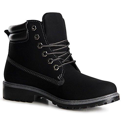 topschuhe24 1047 Damen Stiefeletten Worker Boots Schwarz