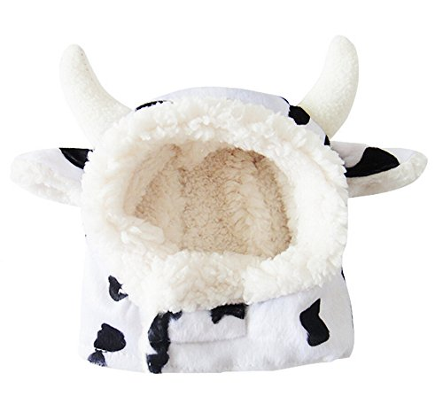 Black White Mad Cow Pet Hat for Cats & Small Dogs Funny Pet Cosplay Costume with Stuffed Ears ()