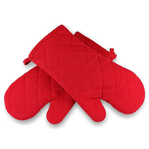 Saybrook Quilted Cotton Kitchen Oven Mitts with Thick Terry Cloth Lining, 2 Pack, Red (Oven Mitts For Small Hands compare prices)