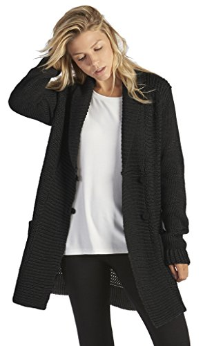 UGG Women's Lillie Button Up Knit Wool Blend Sweater (Large, Black)