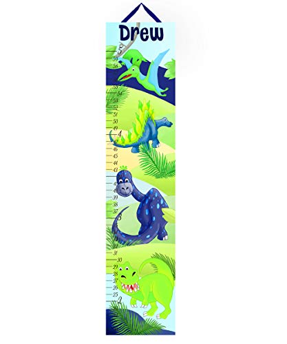 Toad and Lily Canvas GROWTH CHART Navy Green Dinosaur Boys Bedroom Baby Nursery Wall Art GC0105 (Growth Chart Dinosaur Personalized)