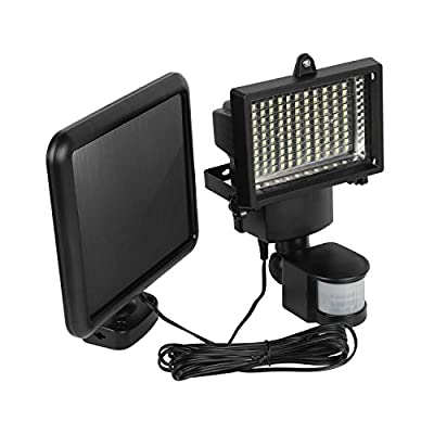 Moclever 100 LED Outdoor Security Motion Sensor Flood Light with Solar Panel for Porches, Walkways, Garages, Outdoor