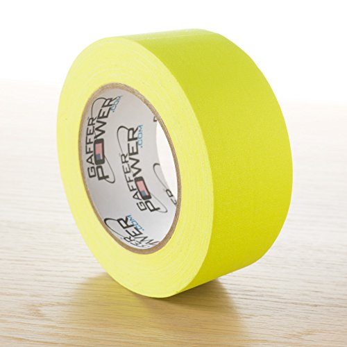 Real Professional Grade Gaffer Tape by Gaffer Power, Made in The USA, Heavy Duty Gaffers Tape, Non-Reflective, Multipurpose. (2 Inches x 30 Yards, Yellow) ()