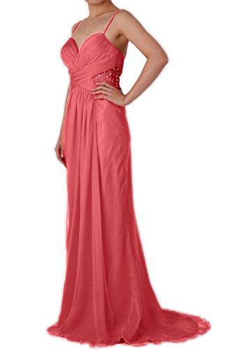 MACloth Women Mermaid Spaghetti Straps Chiffon Long Prom Dress Formal Party Gown Blush Pink
