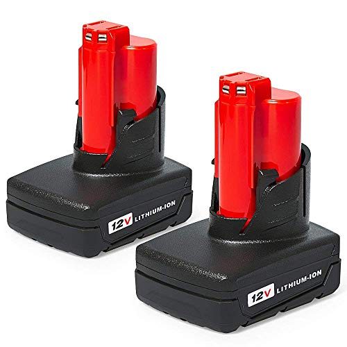 (Mrupoo 12V 6000mAh RED Lithium -ion Replacement Battery Compatible with Milwaukee M12 48-11-2402 48-11-2410 48-11-2411 48-11-2420 48-11-2401 2455-20 48-11-2440 M12 Cordless Milwaukee Tools(2 pack))