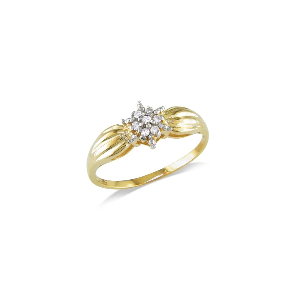 10k Yellow Gold Diamond Ring (0.04 Cttw, J K Color, I3 Clarity) Jewelry