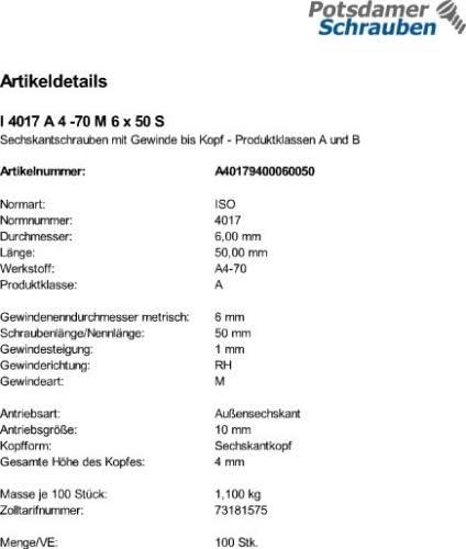 100 Edelstahl V4A Sechskantschrauben ISO 4017 A4-70 M6x50