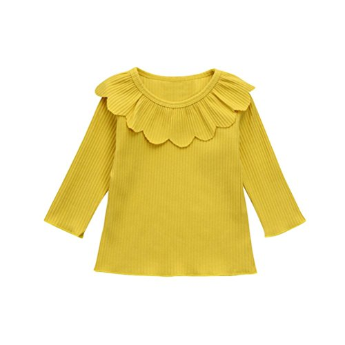 Price comparison product image HOT SALE!!6M-4 Years Old Baby Girls Blouse Tops T-Shirt Sweet Outfits,Toddler Infant Petal Lapel Clothes (24M, Yellow)