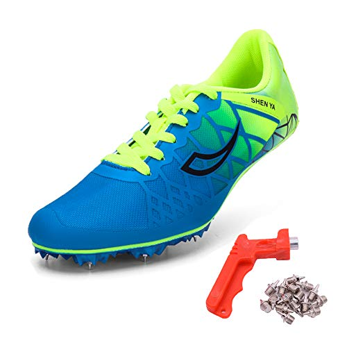 Ifrich 2019 Men Spikes Athletics Racing Shoe Track and Field (US 9.5, Blue) ...