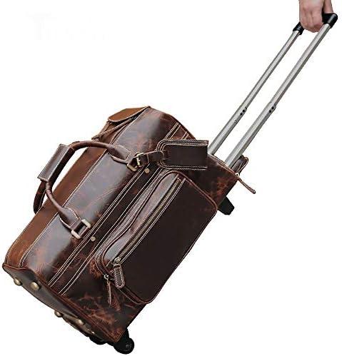 スーツケース ヴィンテージレザートラベルバッグ大容量トロリーバッグメンズヨーロッパとアメリカ 軽量かつ低騒音 (色 : 褐色, Size : 45 × 23 × 25CM)