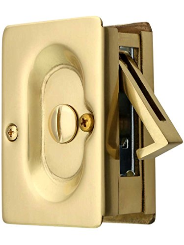 Premium Quality Mid-Century Pocket Door Privacy Lock Set in Polished Brass
